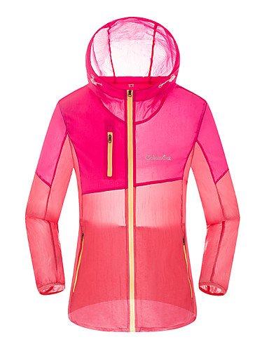 zhENfu Donna informale/sportivi giornalieri Attivo Vacanze Estate Autunno trench coat,blocco colore Hooded Long Sleeve Nylon regolari Fuchsia