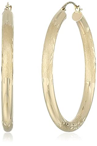 10k Yellow Gold Polished and Engraved Round Hoop Earrings