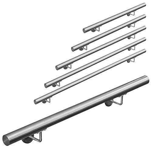Edelstahl Handlauf Treppengeländer Geländer Wandhandlauf Wand Treppe Aufmontage 50 - 1000 cm V2Aox, Länge:50 cm