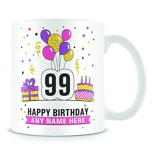 Kaffeebecher, 99. Geburtstag, für Damen und Herren, Geburtstagsparty-Design, personalisierbar, aus...