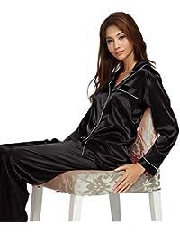 LONXU Womens Silk Satin Pajamas Set Sleepwear Loungewear XS~3XL Plus Gifts a4b3245ac