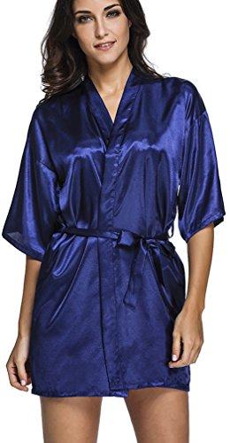 FLYCHEN Femme Sexy Court Peignoir Robe de Nuit Longueur Genou Sleepwear Soyeux Nuisette Babydoll Bleu Foncé