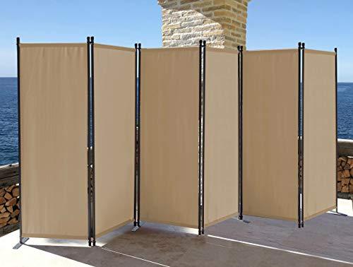 QUICK STAR Paravent 6 Teilig 340x165cm Stoff Raumteiler Garten Trennwand Balkon Sichtschutz Stellwand Faltbar Sand