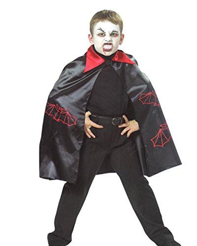 Graf Kostüm Dracula Kinder - Keller Festival Fledermaus GRAF Dracula Umhang Vampir Karneval Halloween Kinder Kostüm Hexenmeister (128)
