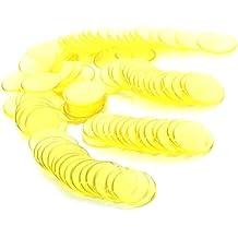100pcs Juego Chips Fichas de Bingo Plástico Amarillo Transparente 3/4 Pulgadas