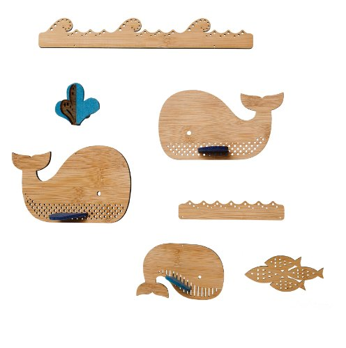 Petit Collage Baleine Deluxe en bambou Mobile