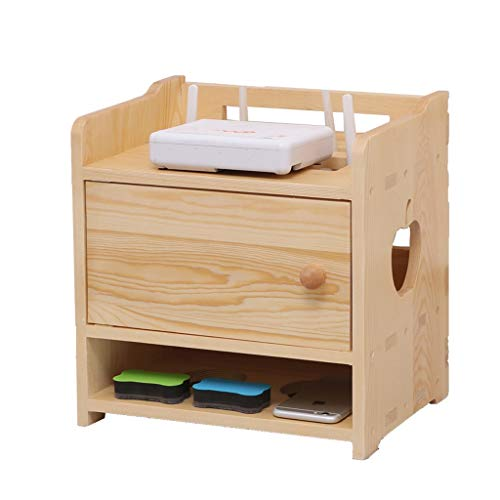 Top-komponente Regal (SISIZHANG Holzkisten Kabel Organizer Massivholz Drahtlose Router Aufbewahrungsbox Wohnzimmer Home Oberfläche Glatt Und Leicht Zu Reinigen (Color : Yellow, Size : 32CM*23CM*31CM))