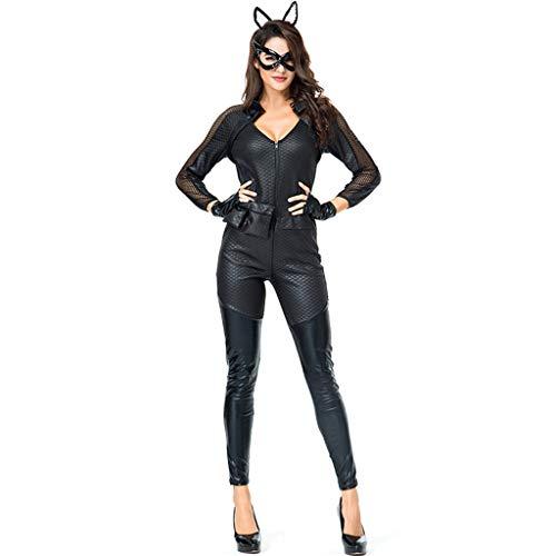 Cat Kostüm Frauen Girl - CJJC Fashion Party Karneval Cat Girl Kostüm, Frauen Sexy Slim Cosplay Kostüm für Bühnenauftritte, Schwarz M