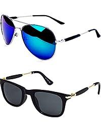 Younky Discount Offer On Combo of Stylish Aviator Mercury Sunglasses for Men Women Boys & Girls (M21_AvstkBM-BlckStick) - 2 Sunglass Case