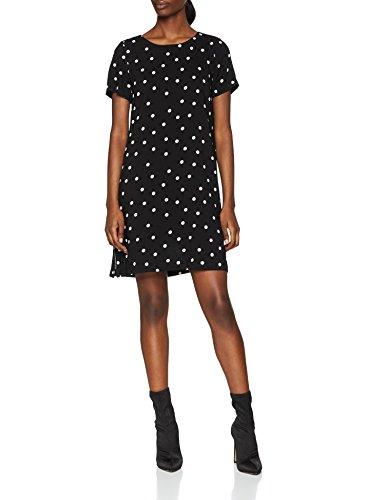 ONLY NOS Damen Kleid Onlfirst SS Aop Dress Wvn, Mehrfarbig (Black Aop:Cloud Dancer Dots), 40