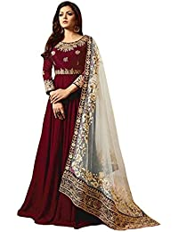 AnK Women's Banglori Silk Embroidered Semi-Stitched Long Anarkali Salwar Suit