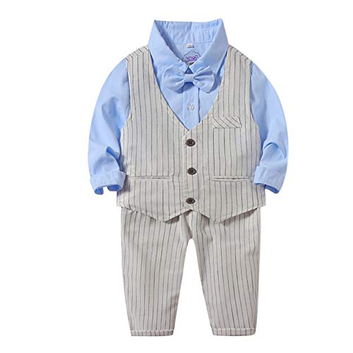 Baywell Baby Boys Clothing Sets Shirt + Striped Vest + Pant Bow Tie Necktie Suit, Gentleman Festive Baptism Wedding Long Sleeve Suit for Spring and Autumn Baby Boy Bow Tie