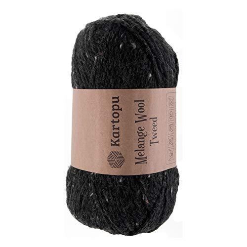 maDDma ® 5 x 100g Strickgarn Kartopu Melange Wool Tweed Strick-Garn Häkelgarn Wolle, Farbe:M1414 schwarz -