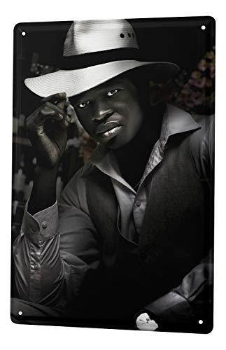 Blechschild Jorgensen Fotografie Foto Bilder Männer Model Black is beautiful Weste Hemd Hut 20x30 cm