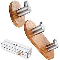 BasicForm Ganchos Adhesivos de Bambú & Acero Inoxidable Ultra Fuerte Adhesivo para Baño y Cocina (1-Gancho + 2-Gancho)