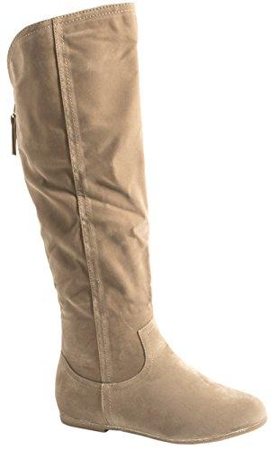 Queen Tina Damen Stiefel | Warm Gefüttert | Bequeme Langschaft Boots | Flache Zipper QS195-A-Beige-38