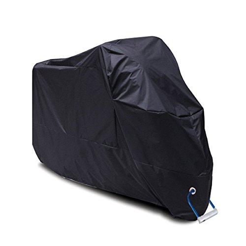 Funda para Moto, YOOFAN 190T Funda para Motocicleta Impermeable de Poliéster, Anti Polvo UV Cubierta para la Moto, Interior o Exterior con Bolsa de Almacenamiento (XXL / Negro)