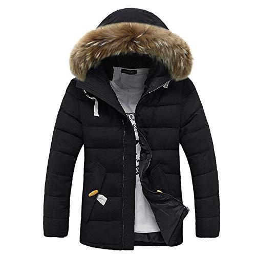 Riou Herren Steppjacke Winterjacke Männer Winter Wärme Beiläufige mit Kapuze Zip Dicke Verdicken Daunenjacke Baumwolle Mantel (M, Schwarz)