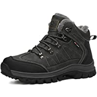 AX BOXING Mens Snow Boots Winter Warm Ankle Walking Hiking Boots Fully Fur Lined Anti-Slip Leather Work Shoes (9.5 UK, 9074-grey)