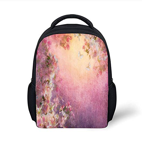 Kids School Backpack Art,Enchanted Cherry Blossom Petals Field Shabby Chic Floral Garden Spring Picture Decorative,Light Pink Peach Plain Bookbag Travel Daypack (Cherry Blossom, Doll)