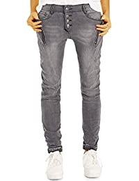 ecc20ebf85 BeStyled Baggy Damen Jeans mit stylischer Knopfleiste - Tapered  Girlfriend/Boyfriend…