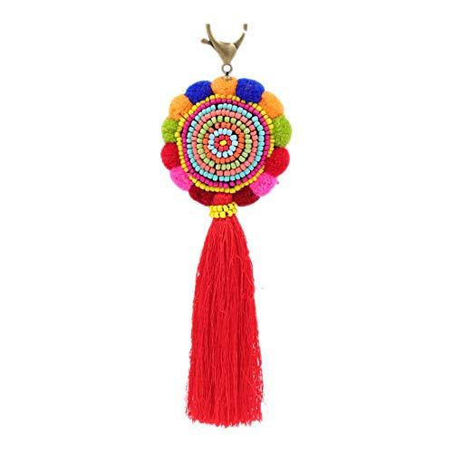 Perlen Quaste lange Tasche Anhänger Charme Schlüsselbund für Frauen Stroh Tasche Geldbörse Handtasche Dekor ()