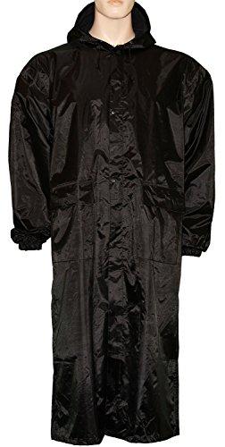 Lange Herren Wasserdicht Regen Mantel Jacke mit Kapuze schwarz/marineblau oder oliv grün Schwarz - Schwarz