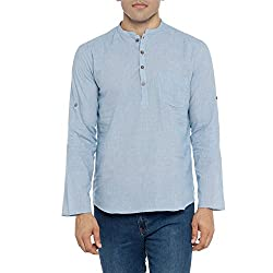 Pastel blue colored short kurta, featuring a slim fit, round neck with a band collar and full sleeves. it is crafted form premium quality self designed cotton.