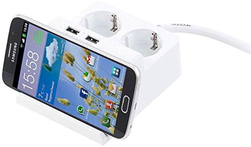 revolt Steckdose USB: Tisch-Steckdosenleiste mit 2 230-Volt-Buchsen und 2 USB-Ports, 2,5 A (Ladegerät Handy)