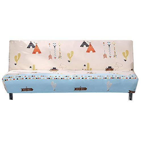 Universal folding sofa cover without armrests, printed cotton mix for sofa or bed decoration, furniture protector