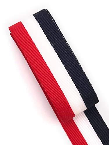 Slantastoffe Ripsband 2m Retro Dekoband Webband Hutband 30mm 3 Farben (Rot-weiß-dunkelblau) (Hutband)