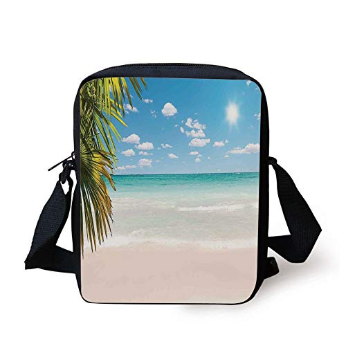 Ocean,Dreamy Caribbean Beach with Crystal Clear Water Sky and Palm Leaves Away Print,Cream Turquoise Green Print Kids Crossbody Messenger Bag Purse -