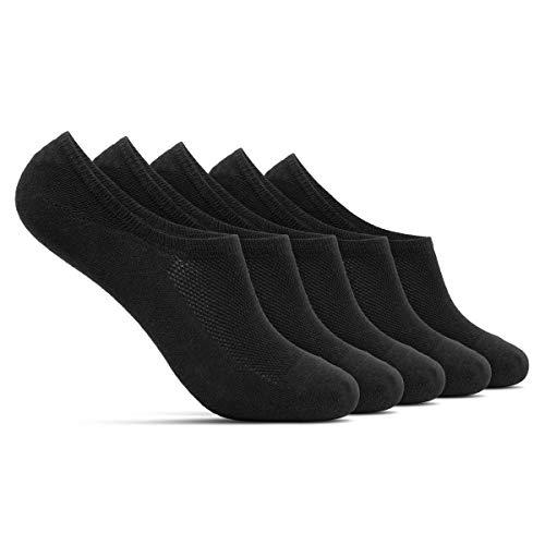 ROYALZ Calcetines zapatillas cortas 5 pares para hombre y mujer transpirables sneaker socks - calcetines invisibles, Talla Calcetines:35-38, Set:5 Coppia/Nero