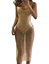 Estivi Donna Eleganti Abito a Tunica Moda Paillettes Trasparente Tulle  Cucitura Abiti da Discoteca Club Sexy b72c13d3a6d