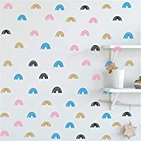 JURUOXIN 48 Pcs/Set Rainbow Wall Decal Vinyl Stickers for Kids Baby Gilrs Bedroom Decoration Art Home Room Decor YMX44 (Palette 1)