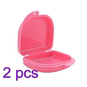ULTNICE 2 Stücke Zahnspangen Box Prothesendose für Aufbissschiene Knirscherschiene (Rosa)