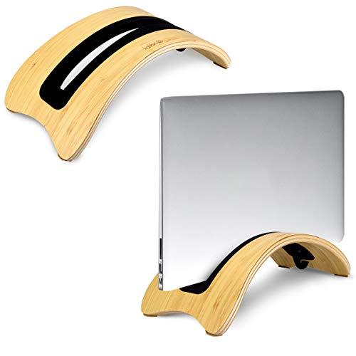 kalibri Laptop Ständer Notebook Stand - Halterung aus Holz 3X Silikoneinsatz für MacBook Air/Pro/Pro Retina/Tablet iPad - Bambus