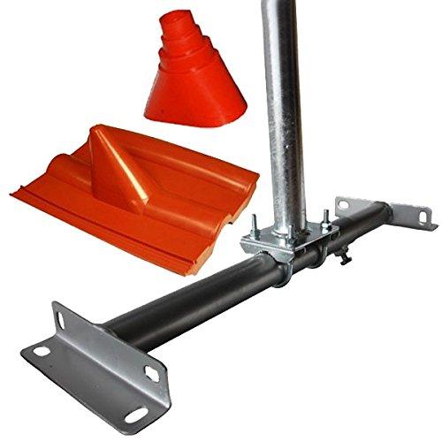 Dachsparrenmasthalter mit 100 cm Mast feuerverzinkt, Dachsparrenhalter verstellbar + Dachabdeckung Frankfurt Rot Dachpfanne für Dach Abdeckung + Universal Gummimanschette für Dachabdeckungen Rot
