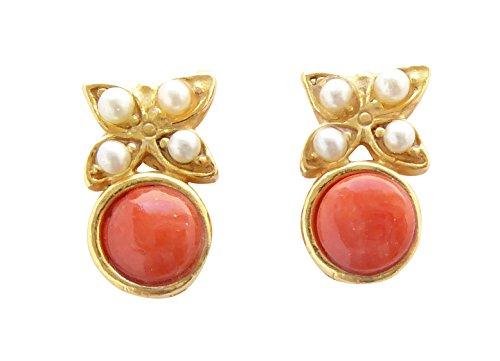 Kleine verspielte Korallen-Ohrstecker Ohrringe orange-rot Süßwasser-Perlen Silber vergoldet Handarbeit Unikat Italien Geschenk Frauen Mädchen - Kleine Rote Koralle