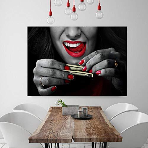 Druck Auf Leinwand Abstrakte Kunst Wandmalerei Drucke Und Poster Leinwandbilder Für WohnzimmerDekorative Kunst Bild Leuchtend Roten Lippen -