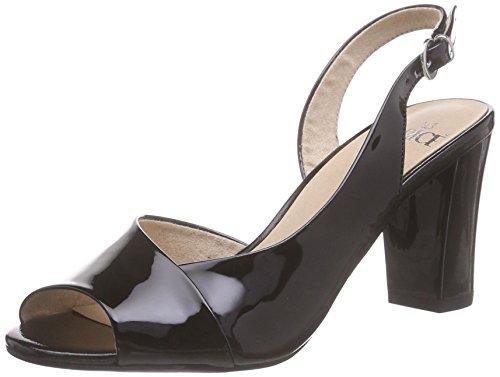 Caprice 28311, Sandales Bride arrière femme Noir (black Patent 018)