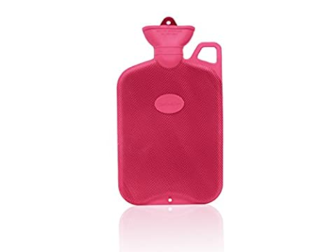 Coronation 2 Litre Red Single Rib Hot Water Bottle With Carry Handle