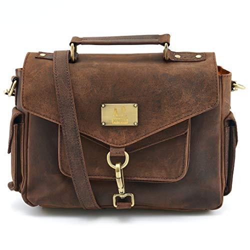 A.P. Donovan - Kameratasche aus Büffelleder ✔︎ Leder Fototasche ✔︎ Umhängetasche für Fotozubehör ✔︎ Braun