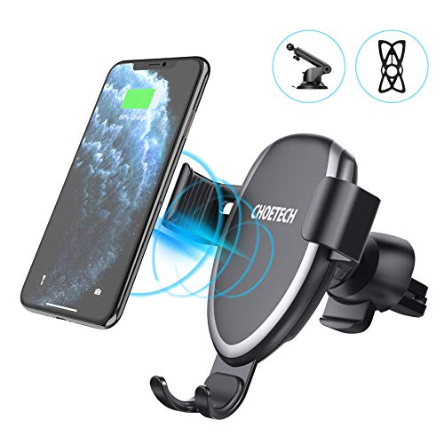 CHOETECH Cargador Inalámbrico Coche, Qi Wireless Car Charger Soporte, [2 Usos], 10W para Samsung S10/S10e/S10+/S9/S8/S8+/Note 10/Note 9, Carga7.5W para iPhone 11/11Pro/XS/XR/X/8/8 Plus, 5W QI-Enabled