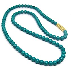Himalaya Rudraksha Kendra 100 % Original Blue Turquoise Semi Precious Gemstone Beads Fashion Necklace 8 Inches Length For Women/Girls