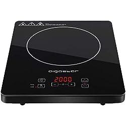 Aigostar Blackfire 30IAV - Plaque à induction portable et multifonction, 2000W, contrôles tactiles, 10 niveaux de puissance. Fonction maintenir au chaud et programmable. Couleur noir. Design exclusif.