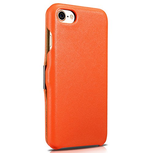 Lusso Custodia per Apple iPhone SE / 5S / 5 / 6S / 6 / 6S Plus / 6 / Case Parte esterna in vera pelle / dal tessile / custodia-protettiva lato pieghevole / ultra sottile Copertura - Marrone - marrone  Arancio
