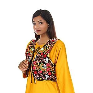 Trendish Women's Cotton Kutchi Embroidery Work Jacket (Multi Color_Medium)