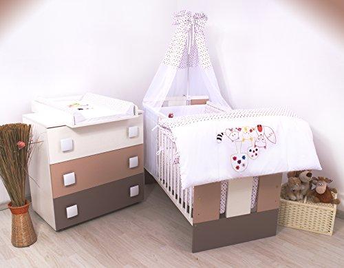 15Tlg. Kinderzimmer - Wickelkommode, Babybett, voll Ausstattung (Igelchen)