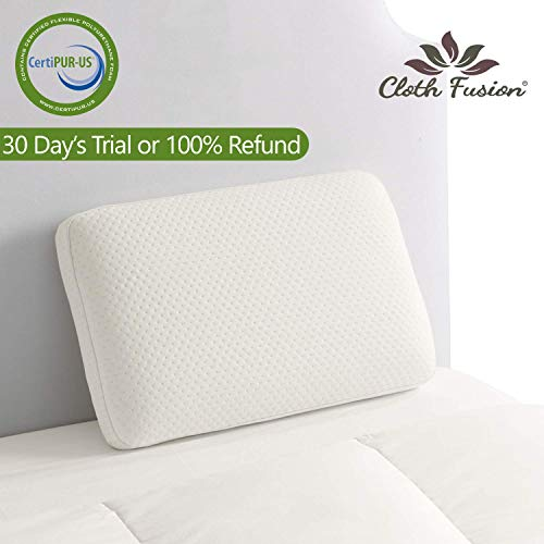 """Cloth Fusion Vectron Memory Foam Pillow for Sleeping with Removable Bamboo Fabric Pillow Cover- 16""""x24"""""""